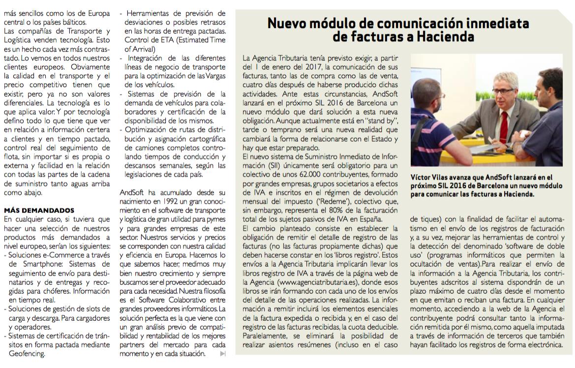AndSoft en Diario del Puerto 2016