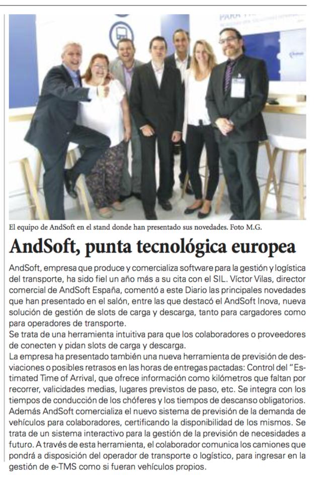 Información AndSoft en Diario del Puerto 10 de junio del 2016 (SIL)
