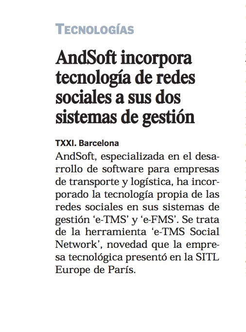 AndSoft en Transporte XXI