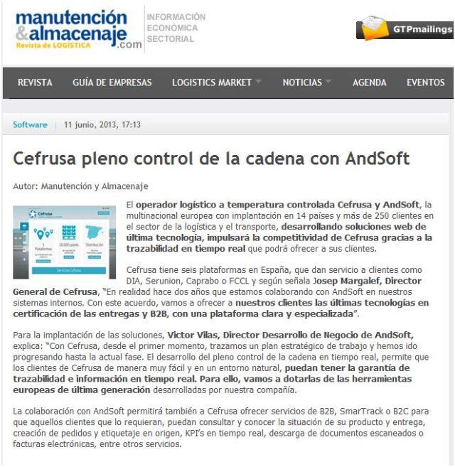 AndSoft y Cefrusa en Manutención y Almacenaje