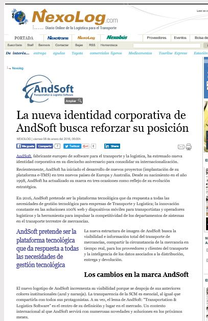 Noticia AndSoft nueva identidad corporativa en Nexolog Ene 2016
