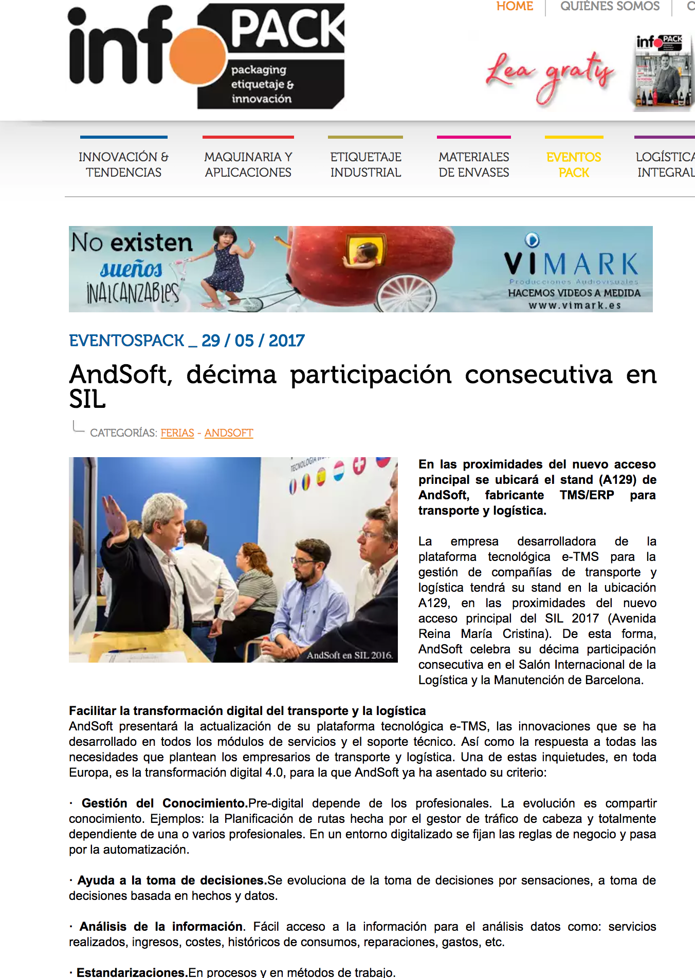 AndSoft Noticia en InfoPack