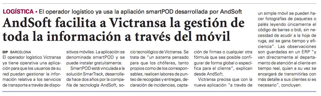 AndSoft Victransa en Diario del Puerto Papel