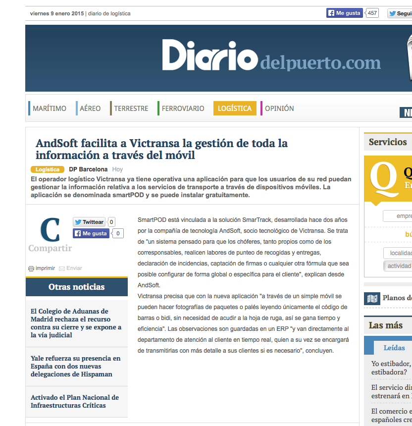 AndSoft Victransa en DIario del Puerto