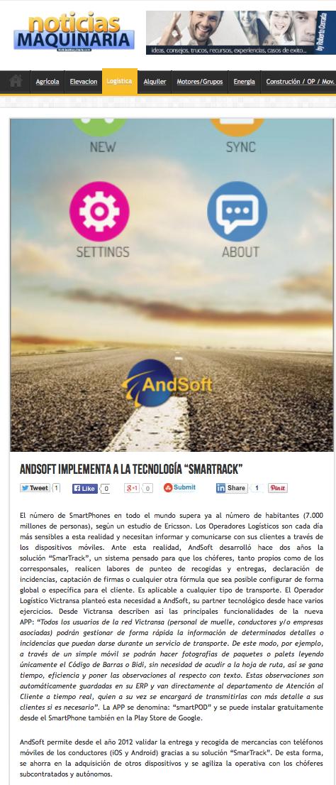 AndSoft Victransa en NoticiasMaquinaria