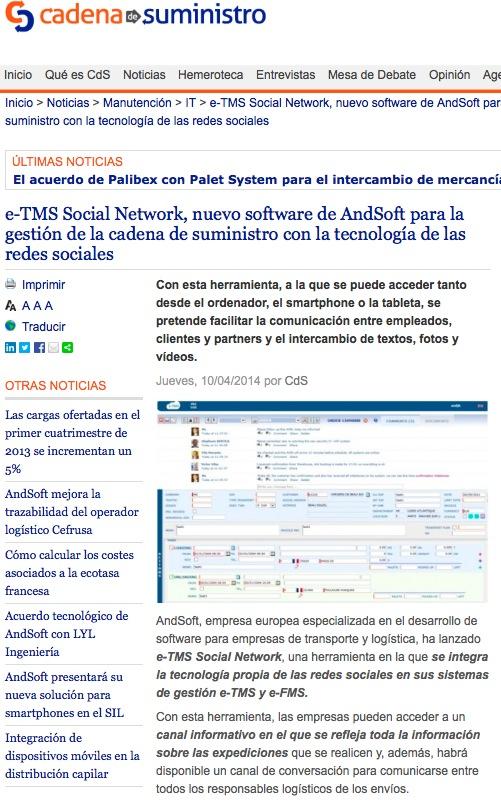 AndSoft e-TMS Social Network en portal cadenadesuministro