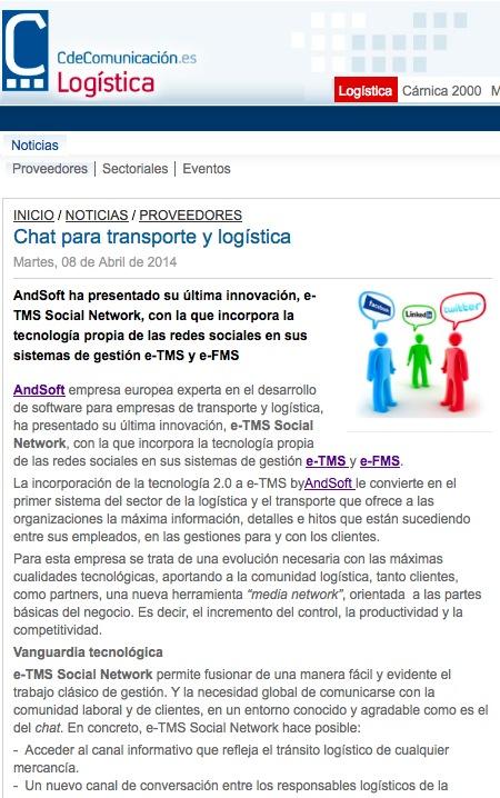 AndSoft Chat eTMS Social Network en Portal Logístico
