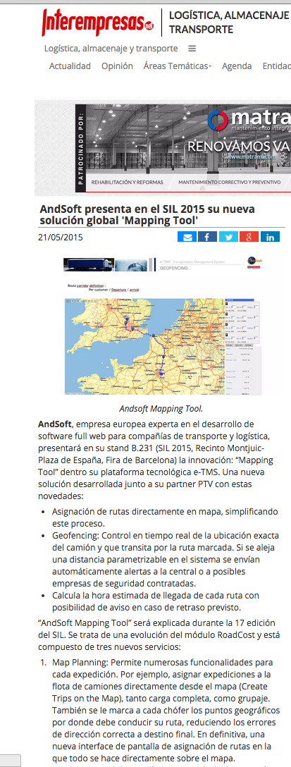 AndSoft Mapping Tool en Interempresas SIL 2015