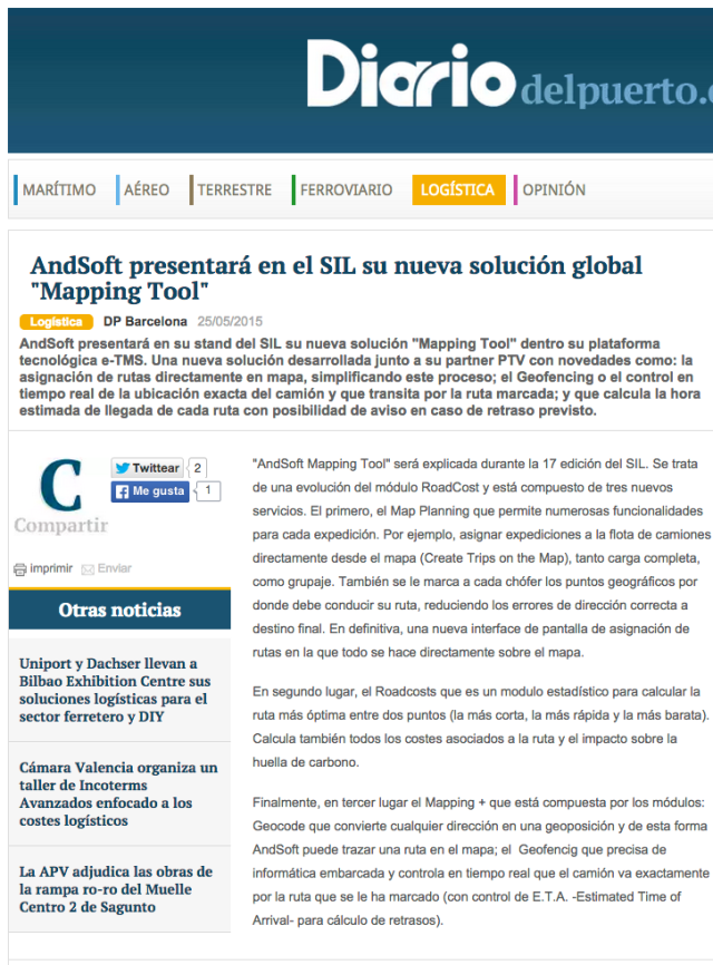AndSoft Mapping Tool en Diario del Puerto SIL 2015