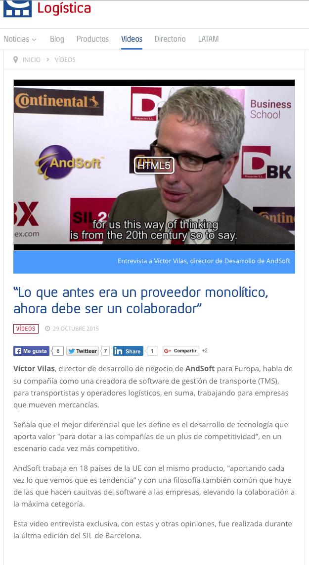 Cuadernos de Logística entrevista a Víctor Vilas AndSoft
