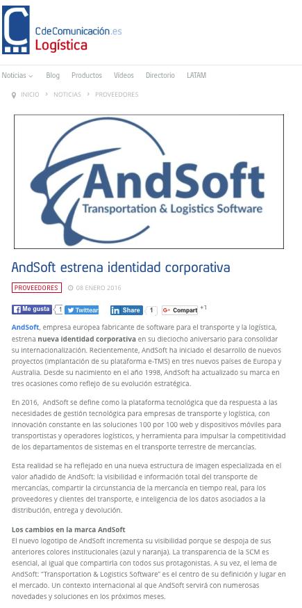 andsoft presenta nueva identidad corporativa en Cuadernos de Logística 8 de enero 2016