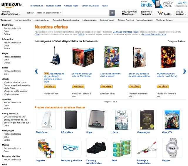 Portada home Amazon España entrega menos de 12 horas