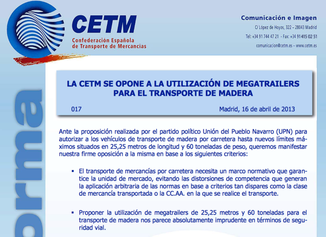 CETM en contra de los megatrailers