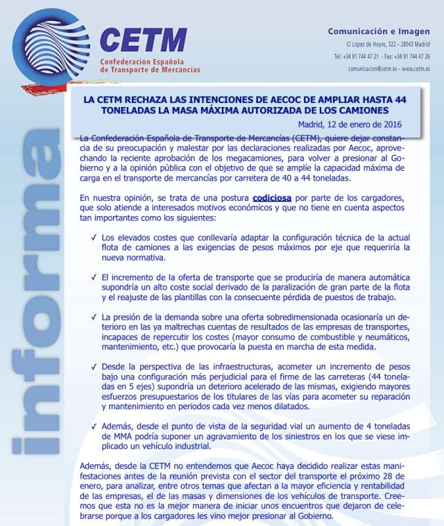 Comunicado de Prensa CETM 12 de enero 2016 sobre Megacamiones 44 toneladas