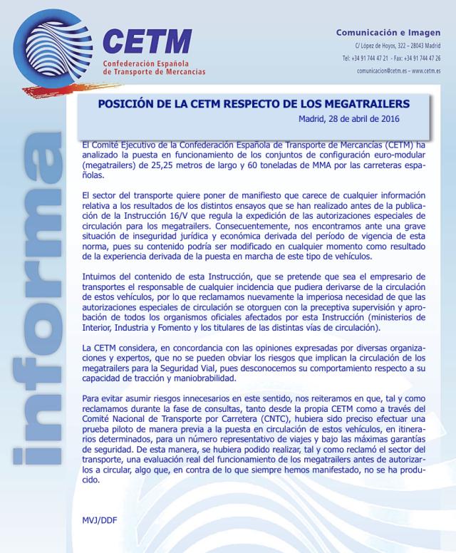 Comunicado CETM sobre Megacamión en España