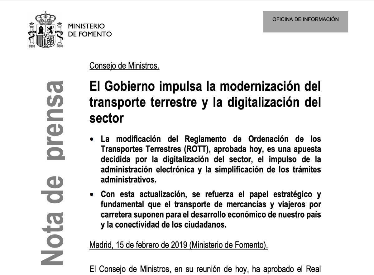 ROTT 2019: Aprobado nuevo Reglamento de Transportes para la digitalización del sector y la simplificación de trámites